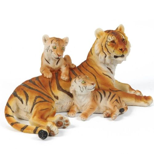 Tiger Figurine Home Ornament With Cubs